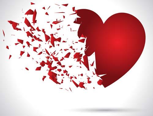 Broken heart shattered