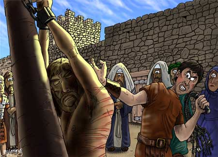 birth pains in the last days, jesus-being-whipped-by-romans