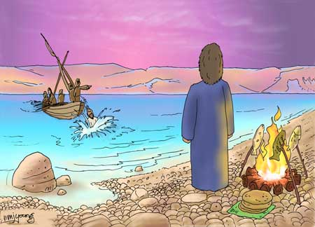 jesus-by-the-ocean-and-peter-on-the-boat